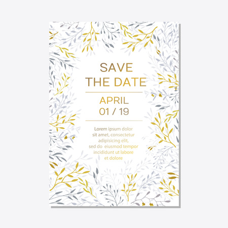 Romantic tender floral design for wedding invitation, save the date, I love you and thank you cards. Floral cards elegant templates. Cards on white background.Vector illustration Ilustração