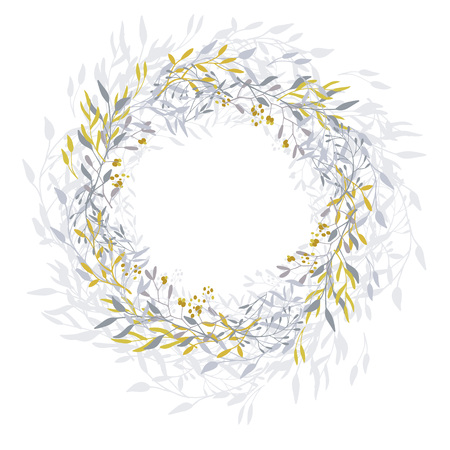 Wreath of leaves, plants, branches and flowers with white background. Hand drawn for cards, invitations, logo, greeting, wedding invite template illustration. - Vector