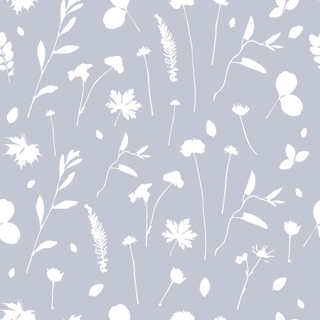 Vector Elegant plant background. Cyanotype floral seamless pattern and backdrop. Rustic style with leaves and flowers. Can be used for cards, invitations, cover, textile, wallpaper. - Vector Illustration
