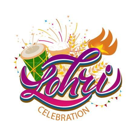 Happy Lohri background for Punjabi festival. Celebration India bonfire invitation with decorated drum . Vector illustration
