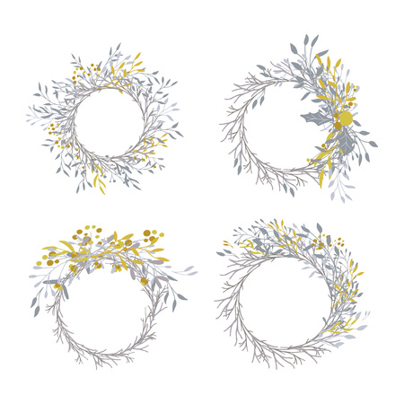 Wreath of leaves, plants, branches and flowers with white background. Hand drawn set for cards, invitations, logo, greeting, wedding invite template illustration. - Vector Logo