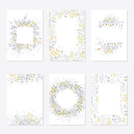 Set floral ornament card template, leaves. Floral frame template, poster, invite. Decorative greeting card or invitation design background. Vector illustration with place for your text. - Vector
