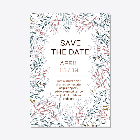 Wedding Invitation. Copper elegant floral invite, modern card in copper leaf greenery branches decorative on navy blue background. Vector elegant rustic template - Vector