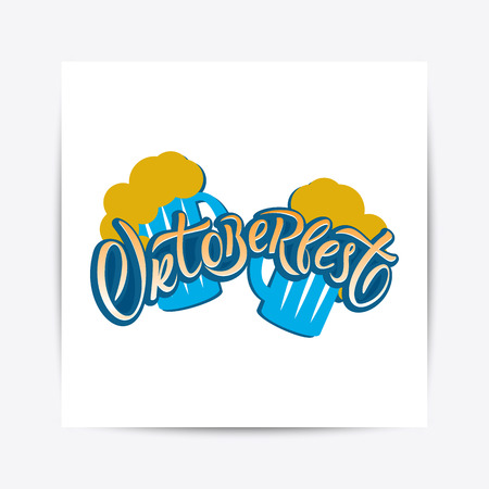 Hand drawn Oktoberfest typography lettering poster. Illustration of Bavarian festival design.Blue, white lettering typography for logo, poster, card, postcard, logo, badge 일러스트