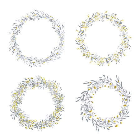 Wreath of leaves, plants, branches and flowers with white background. Hand drawn set for cards, invitations, logo, greeting, wedding invite template illustration. - Vector