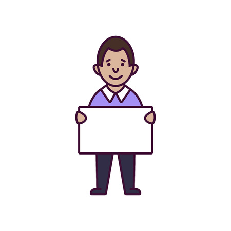 Image of a man holding a poster. Linear style. Vector illustration - Vector Illustration