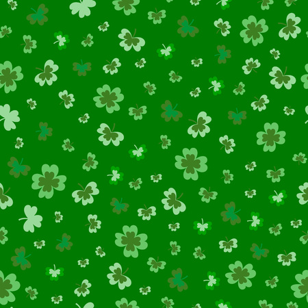 St Patricks Day Clover seamless pattern. Vector illustration for lucky spring design with shamrock. Green clover isolated on white background. Ireland symbol pattern. Irish decor for packing design, cards, wrapping paper, textile. - Vector Illustration