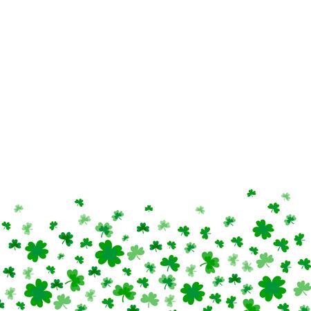 Borde del día de San Patricio con tréboles verdes de cuatro y hojas de árbol sobre fondo blanco. Ilustración de vector. Diseño de invitación a fiesta, plantilla tipográfica. Patrón de símbolo de Irlanda. - Vector