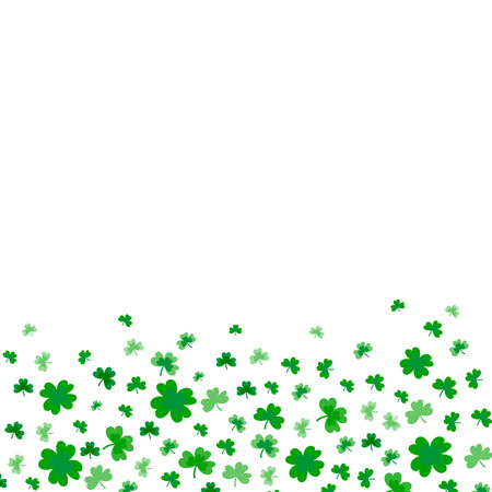 Saint Patricks Day Border with Green Four and Tree Leaf Clovers on White Background. Vector illustration. Party Invitation Design, Typographic Template. Ireland symbol pattern. - Vector Çizim