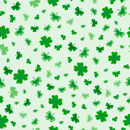 St Patrick's Day Clover seamless pattern. Vector illustration for lucky spring design with shamrock. Green clover isolated on white background. Ireland symbol pattern. Irish decor for packing design, cards, wrapping paper, textile. - Vector