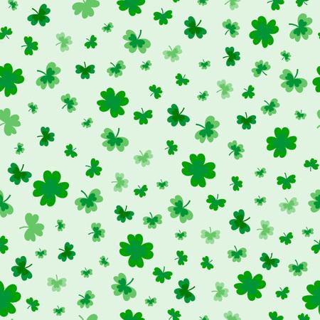 St Patrick's Day klaver naadloze patroon. Vectorillustratie voor gelukkig lenteontwerp met klaver. Groene klaver geïsoleerd op een witte achtergrond. Ierland symbool patroon. Iers decor voor het verpakken van ontwerp, kaarten, inpakpapier, textiel. - Vector Vector Illustratie