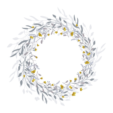 6c12e12f6bf80 Wreath of leaves, plants, branches and flowers with white background. Hand  drawn for