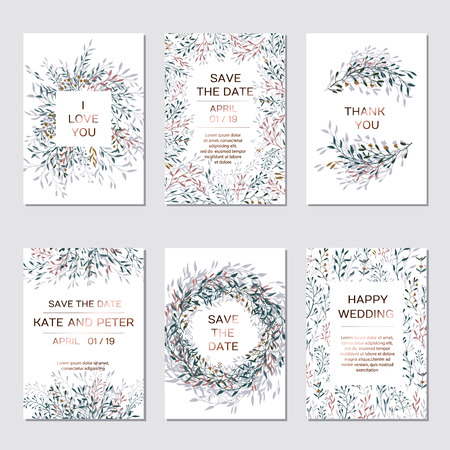 Wedding Invitation. Copper elegant floral invite set, modern card in copper leaf greenery branches decorative on navy blue background. Vector elegant rustic template - Vector  イラスト・ベクター素材
