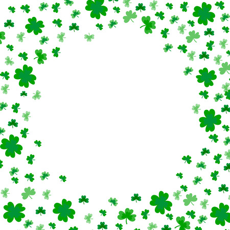 Saint Patricks Day Border with Green Four and Tree Leaf Clovers on White Background. Vector illustration. Party Invitation Design, Typographic Template. Ireland symbol pattern. - Vector  イラスト・ベクター素材