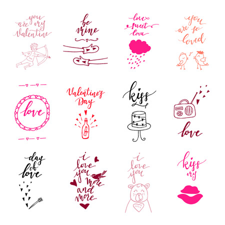 Valentines day greeting card set. Hand drawn February 14 gift tags, labels or card collection. Doodle love lettering background. - Vector