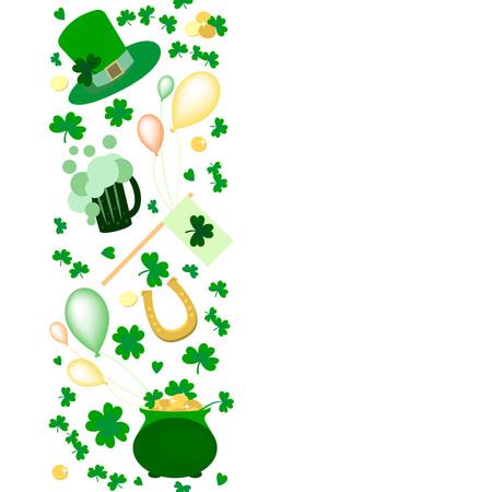 Vector illustration of Saint Patricks Day elements set. Irish celebration design on textured background. Hand sketched patricks icons.Drawn beer festival decoration badges - Vector