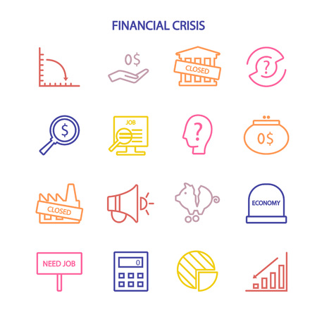 Business and finance crisis line icons white background. Vector illustration - Vector