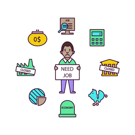 Business and finance crisis line icons elements in a circle white background. Vector illustration - Vector