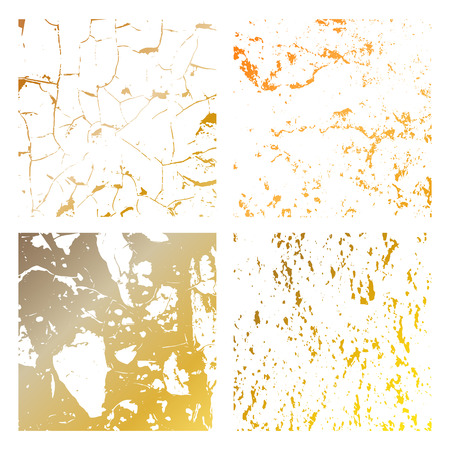 Set Grunge gold Distress Texture. Wall Background.Vector Illustration. Simply Place illustration over any Object to Create grungy Effect abstract,splattered,dirty,poster for your design. Banque d'images - 124094993