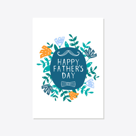Greeting card template for Happy fathers day with typography design. Hand drawn word and flower composition. illustration vector 向量圖像