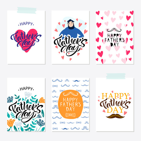 Greeting card set for Happy fathers day with typography design. Hand drawn word and flower composition. illustration vector