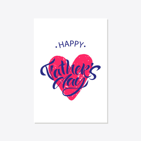 Greeting card template for Happy fathers day with typography design. Hand drawn word and flower composition. illustration vector Illustration