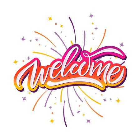 Hand skizziert Willkommen Schriftzug Typografie. Gezeichnetes Kunstzeichen. Grüße für Abzeichen, Symbol, Karte, Postkarte, Logo, Banner, Tag. Feier-Vektor-Illustration für Internet-Design. - Vektor Logo