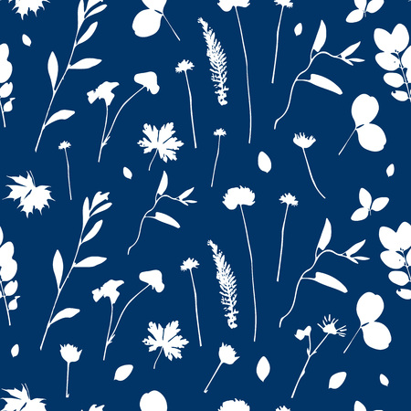 Vector cute cyanotype seamless flower pattern. Big set of cyanotype floral elements. Can be used for cards, invitations, save the date cards and many more. Vectores