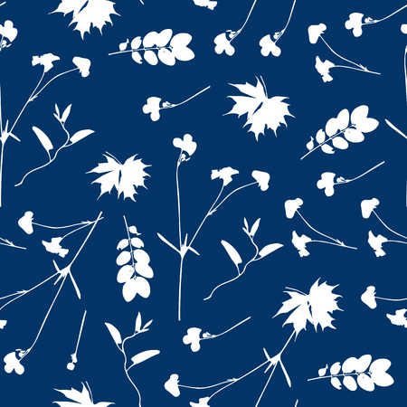 Vector cute cyanotype seamless flower pattern. Big set of cyanotype floral elements. Can be used for cards, invitations, save the date cards and many more.  イラスト・ベクター素材