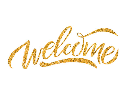 Hand sketched Welcome lettering typography. Drawn art sign.