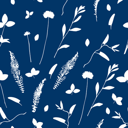 Vector cute cyanotype seamless flower pattern. Big set of cyanotype floral elements. Can be used for cards, invitations, save the date cards and many more.