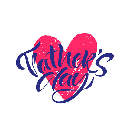 Greeting card template for Happy fathers day with typography design. Hand drawn word. illustration vector