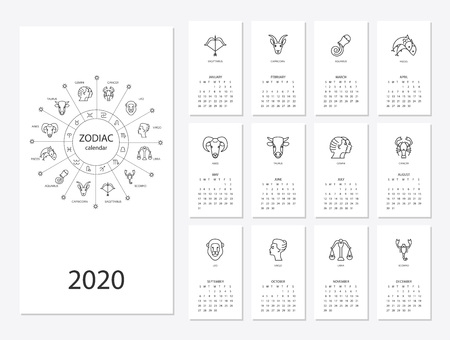 Calendar 2020 with horoscope signs zodiac symbols set, flat colored illustration, template. Can be used for web, print, card, poster, banner, bookmark. Week starts on sunday. Фото со стока - 122617194