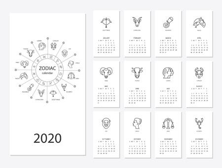 Calendario 2020 con signos del horóscopo conjunto de símbolos del zodíaco, ilustración de color plano, plantilla. Se puede utilizar para web, impresión, tarjetas, carteles, pancartas, marcadores. La semana comienza el domingo. Ilustración de vector
