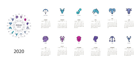 Calendar 2020 with horoscope signs zodiac symbols set, flat colored illustration, template. Can be used for web, print, card, poster, banner, bookmark. Week starts on sunday.