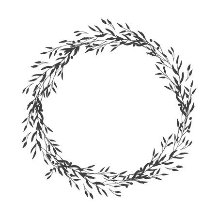 Guirnalda de hojas, plantas, ramas y flores con fondo blanco. Dibujado a mano para tarjetas, invitaciones, logotipo, saludo, ilustración de plantilla de invitación de boda. - Vector