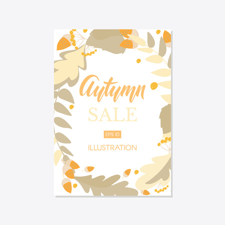Trendy and elegant autumn background with autumn leaf flat style, simple minimalistic style Sale banner template collection Fall season poster, card set