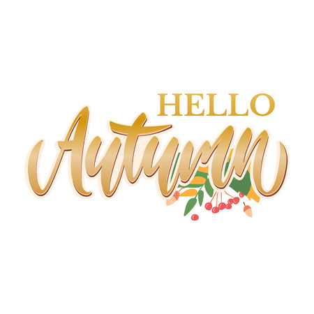 Hello autumn. Different colored autumn leaves background. Calligraphy design. Fall typographic. Illustration - Vector