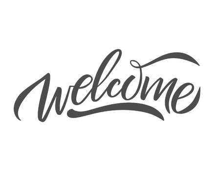 Hand skizziert Willkommen Schriftzug Typografie. Gezeichnetes Kunstzeichen. Grüße für Abzeichen, Symbol, Karte, Postkarte, Logo, Banner, Tag. Feier-Vektor-Illustration für Internet-Design. - Vektor