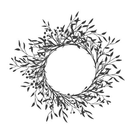 Corona di foglie, piante, rami e fiori con sfondo bianco. Disegnato a mano per carte, inviti, logo, auguri, illustrazione del modello di invito di nozze. - Vettore