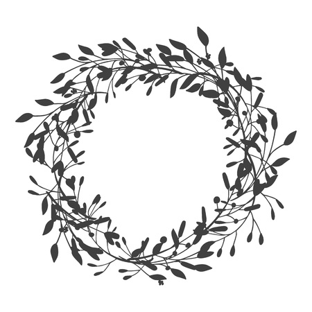 Kranz aus Blättern, Pflanzen, Zweigen und Blumen mit weißem Hintergrund. Handgezeichnet für Karten, Einladungen, Logo, Gruß, Hochzeit laden Vorlage Illustration ein. - Vektor