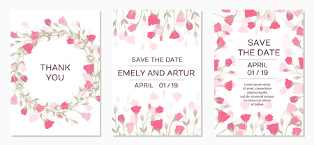 Wedding Invitation with rose eustoma. Romantic tender floral design for wedding invitation, save the date, I love you and thank you cards. Floral cards elegant templates. Vector illustration Stockfoto - 123439623