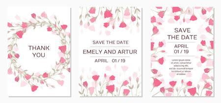 Zaproszenie na ślub z różaną eustomą. Romantyczny kwiatowy wzór przetargu na zaproszenie na ślub, zapisz datę, kocham cię i dziękuję karty. Eleganckie szablony kart kwiatowy. Ilustracja wektorowa Ilustracje wektorowe