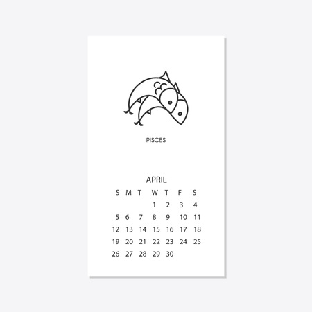 Calendar 2020 with horoscope signs zodiac symbols. April. Pisces.    Can be used for web, print, card, poster, banner, bookmark. Week starts on sunday.