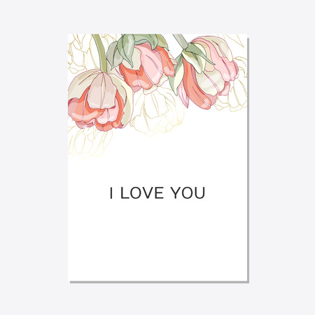 Wedding invitation with tulips , thank you card, I love you. Botanical wedding invitation template save the date. Floral elegant cards on white background. Vector illustration