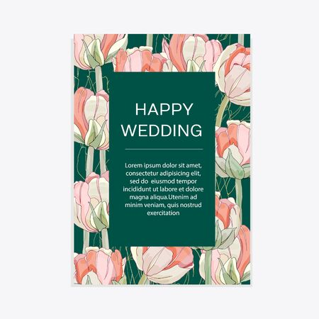 Wedding invitation with tulips , thank you card, I love you. Botanical wedding invitation template save the date. Floral elegant  cards on green background. Vector illustration