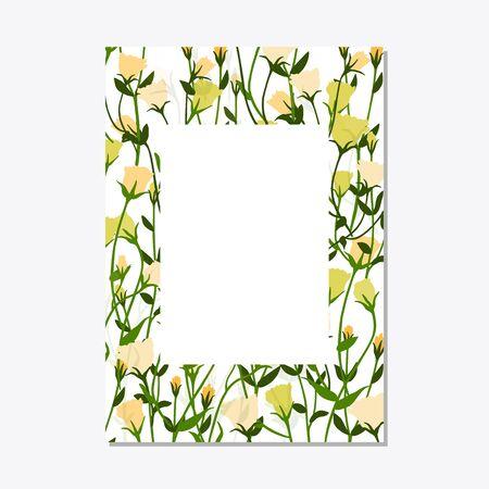 Set floral ornament card template leaves floral frame