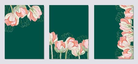 Wedding invitation with tulips. Floral frame template, poster, invite. Decorative greeting card or invitation design background. Vector illustration with place for your text.