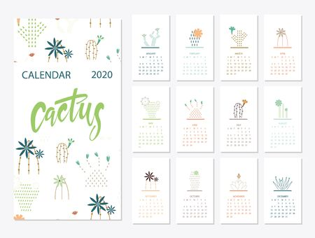 Calendar 2020 set with cactus succulents in minimalist Illustration