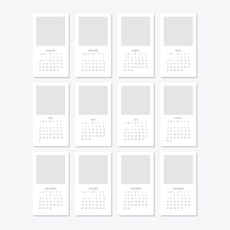 Set of minimalist calendars, years 2020 weeks start Sunday